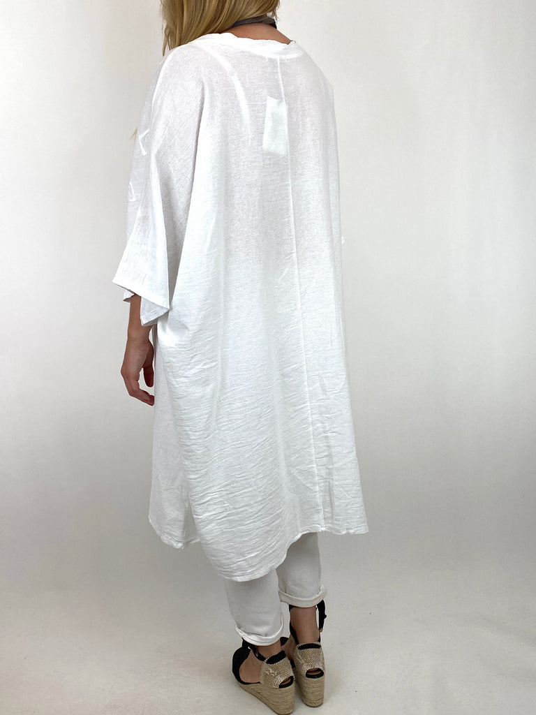 Lagenlook Nelly Twist Front Top in White. code 91087