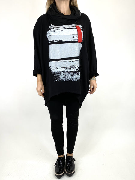 Lagenlook Stripe Paint Hood Top in Black. code 91152 - Lagenlook Clothing UK