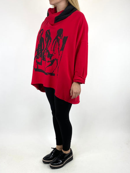 Lagenlook Pass-By Zip Hood Top in Red. code 91152