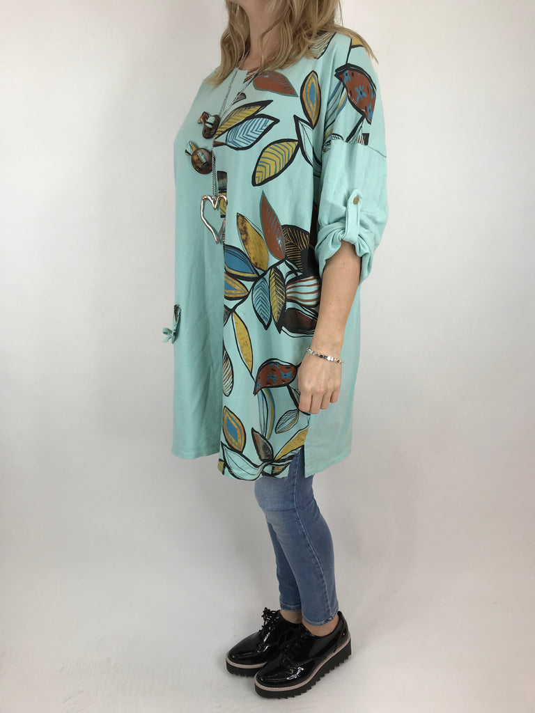 Lagenlook Leaf print Top in Mint. Code 9903