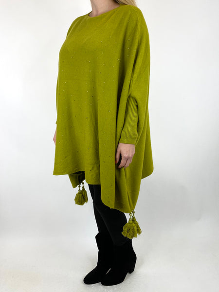 Lagenlook Carla Tassel Sparkle Jumper in Lime. code 2755 - Lagenlook Clothing UK