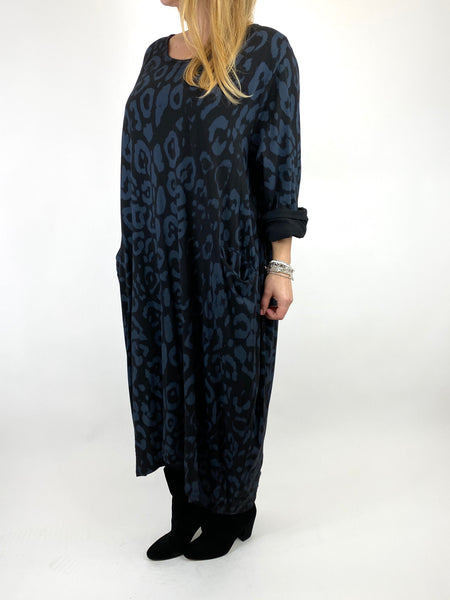 Lagenlook Made In Italy Cheetah Print Tunic in Black. code 9806 - Lagenlook Clothing UK
