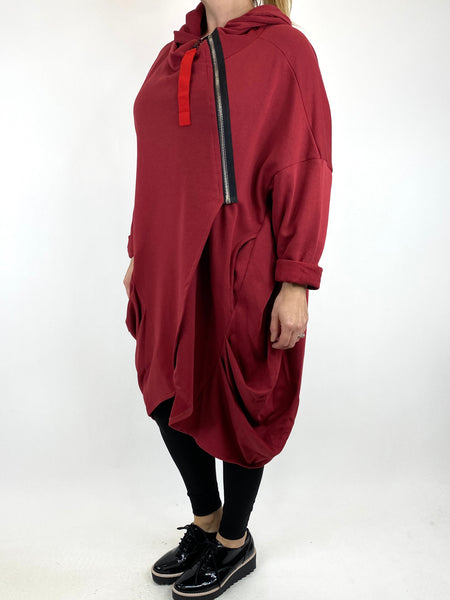Lagenlook Terri Cocoon Jacket in Wine. code 91168