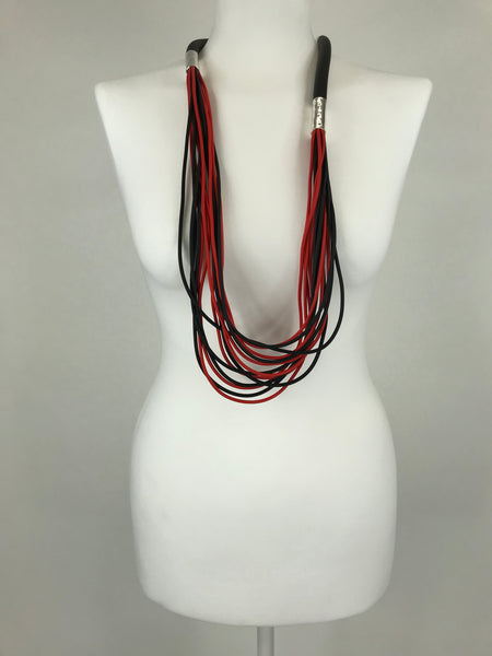 Lagenlook Red Multi Strand Rubber Necklace .Code Jyd29034
