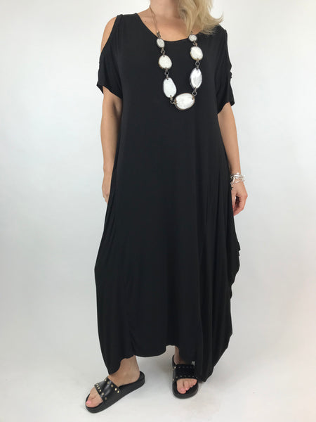 Lagenlook Long Plain Cold shoulder Tunic in Black. code 1026