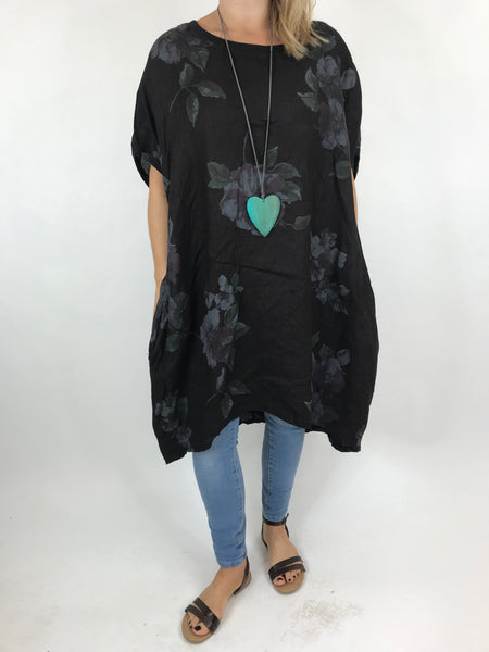 Lagenlook Nikki Summer Flower Tunic in Black. code 9618