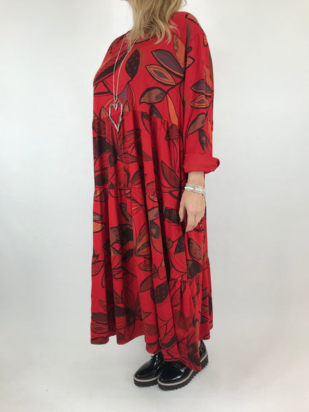 Lagenlook Made in Italy Amy Winter Leaf Midi Tunic in Red. code 9788 - Lagenlook Clothing UK