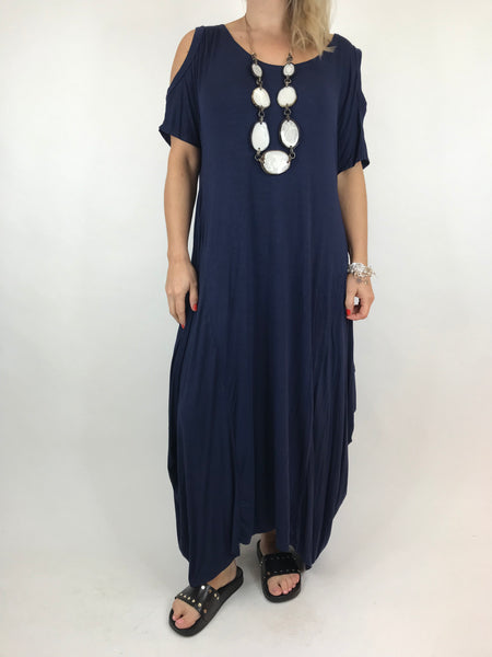 Lagenlook Long Plain Cold shoulder Tunic in Navy. code 1026