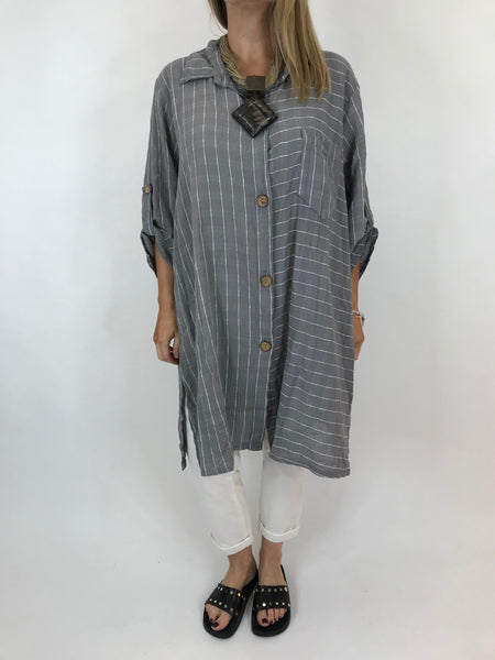 Lagenlook Dele Cotton Shirt in Grey . Code 90873