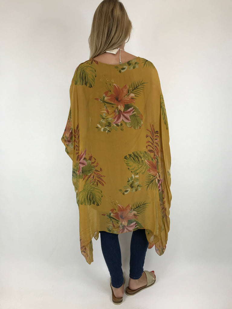 Lagenlook Silk Flower Float Top in Mustard. code 1727