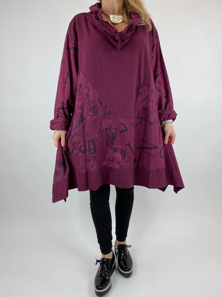 Lagenlook cowl sweatshirt 30+ plus in Wine . code 10256