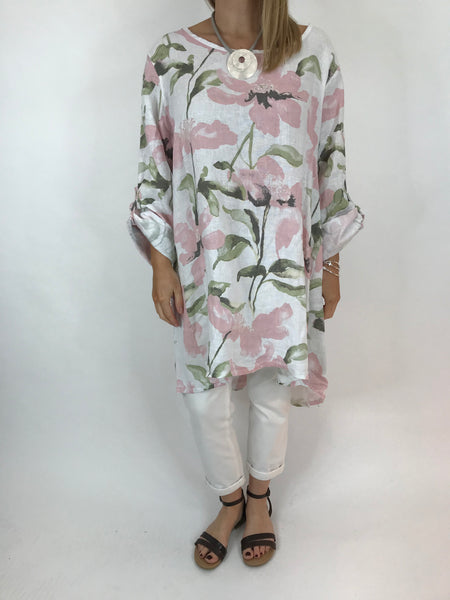 Lagenlook Flower Button back tunic in White. Code 5641