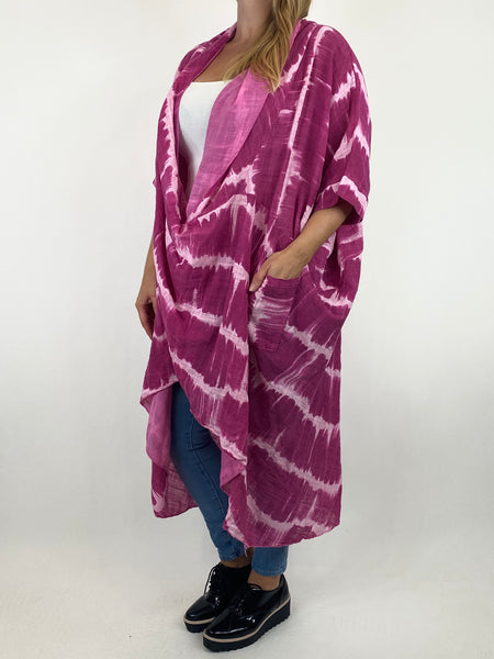 Lagenlook Cotton Tye-Dye Wrap Top in Fuchsia. code 8308 - Lagenlook Clothing UK