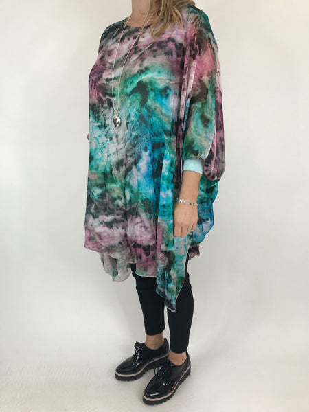 Lagenlook Cosmic Silk Poncho Top in Turquoise . code 1727