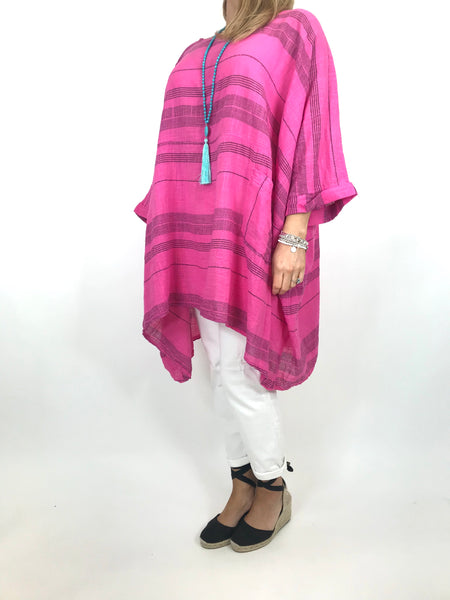 Lagenlook Maggie Stripe top in Fuchsia.code 8365