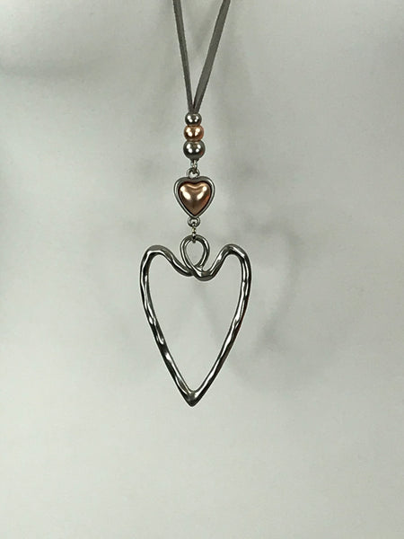 Lagenlook Abstract heart pendant necklace. Code N840