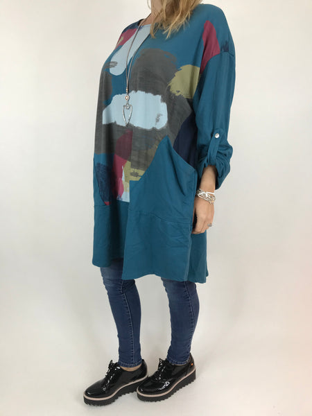 Lagenlook Paint Splash Print Top in Teal. code 976301