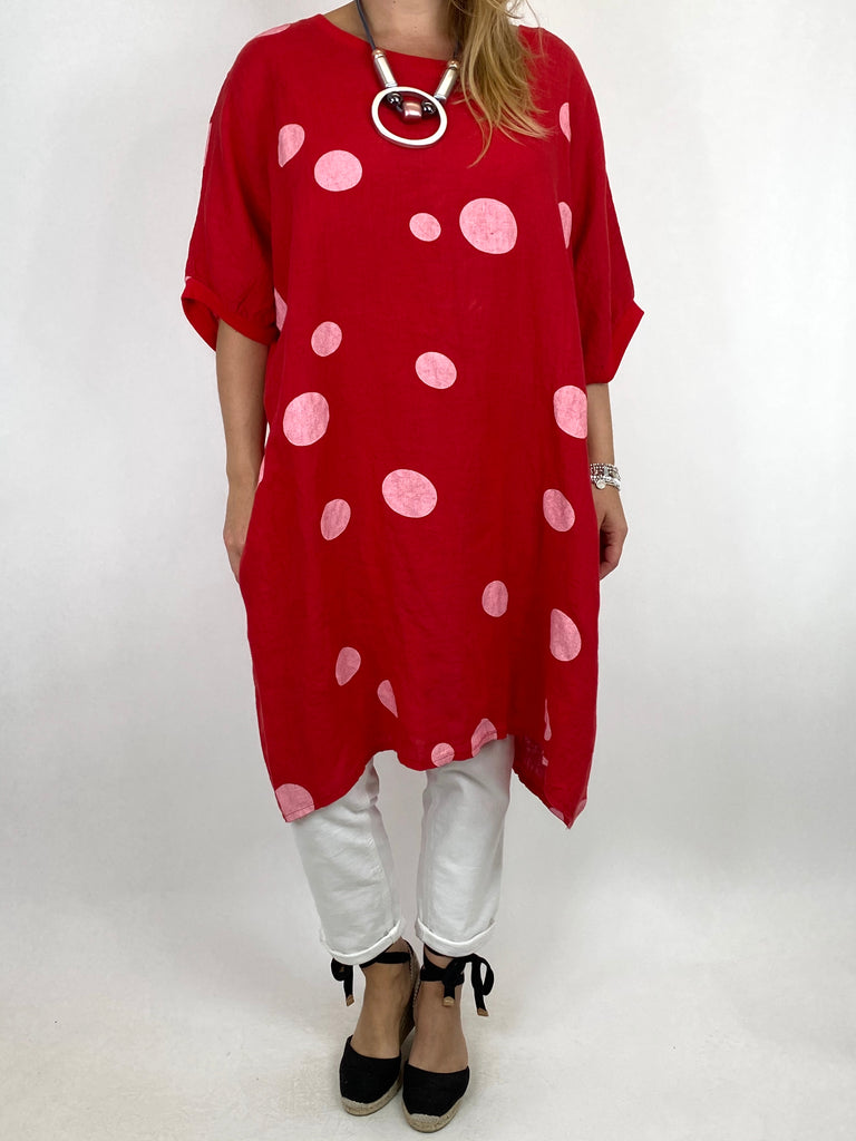 Lagenlook Dot Linen tunic in Red. code 9619 - Lagenlook Clothing UK