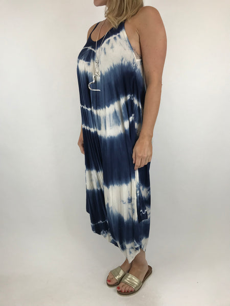 Lagenlook Tie Dye Loose fit jersey Jumpsuit in Navy. code 15041