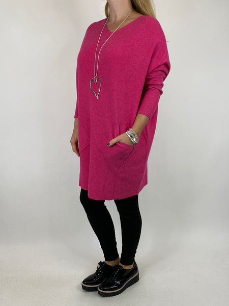 Lagenlook Diana V-neck Angled Pocket Jumper in Fuchsia. code 922