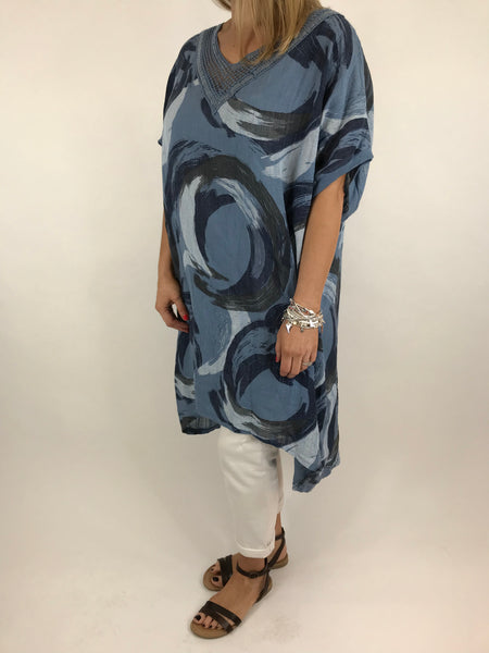Lagenlook Chloe Swirl Print Summer Tunic in Denim. code 5709