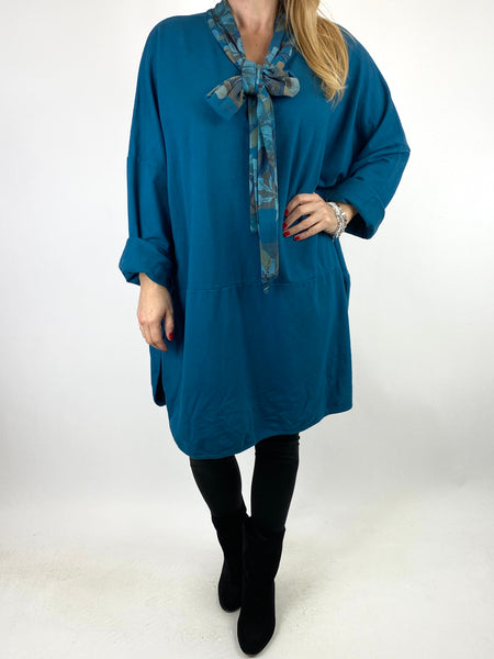 Lagenlook Alice Scarf Button Top in Teal. code 10559