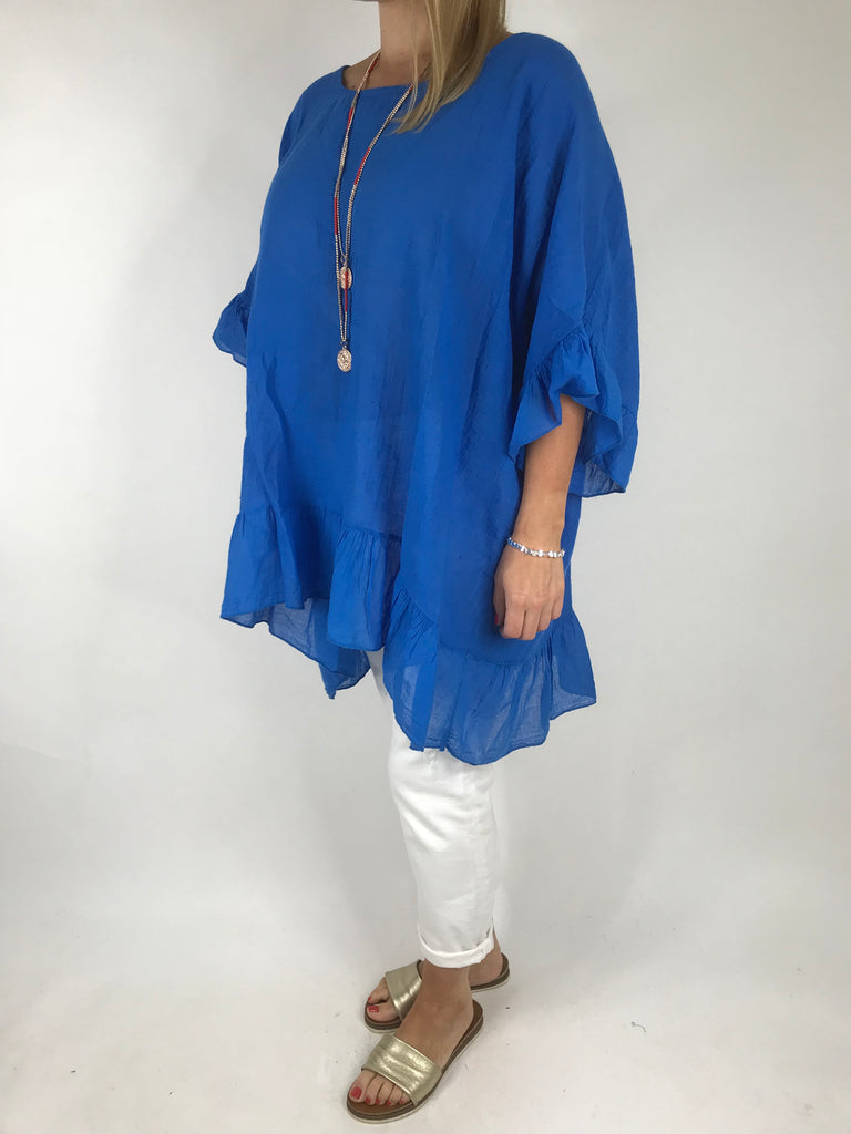 Lagenlook Palm Ruffle Linen Top In Royal Blue. code 5263