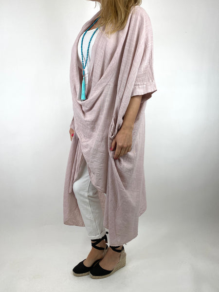 Lagenlook Cotton Wrap Dress Top in Pale pink. code 8307