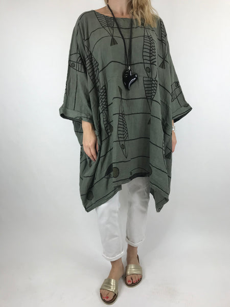 Lagenlook Oversized Quirky Pattern Top in Khaki. code 18169