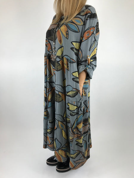 Lagenlook Made in Italy Winter Leaf Tunic in Mid Grey. code 9788