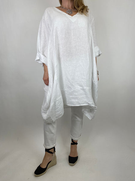 Lagenlook Mykonos V-neck Premium Linen Top in White . code 88176