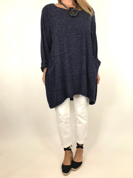 Lagenlook Made In Italy Alps Top in Navy. code 6747