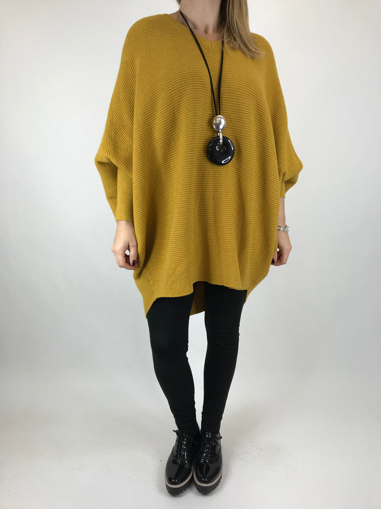 Lagenlook Oxford V-Neck Rib Jumper in Mustard. code 6029