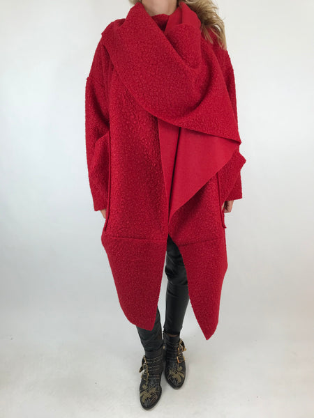 Lagenlook Verity Quirky Wrap Snood Plus Size in Red code 5554