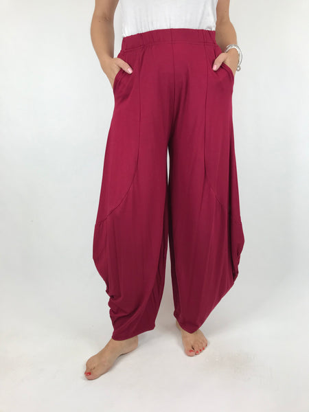 Lagenlook Balloon Trouser in Claret Wine . code 1810
