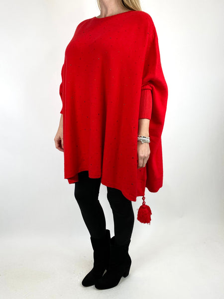 Lagenlook Carla Tassel Sparkle Jumper in Red. code 2755 - Lagenlook Clothing UK