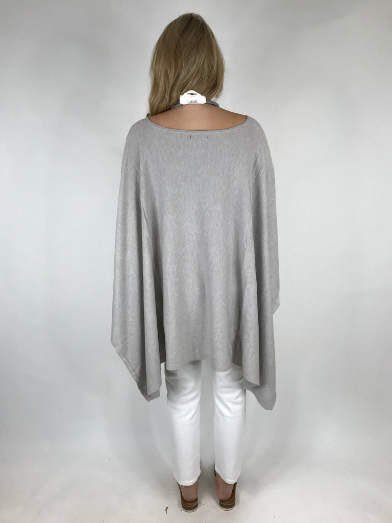 Lagenlook Knitted Poncho In Pale Grey .code 16024