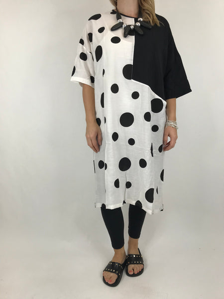 Lagenlook Bold Dot Tunic in Black. code 6007