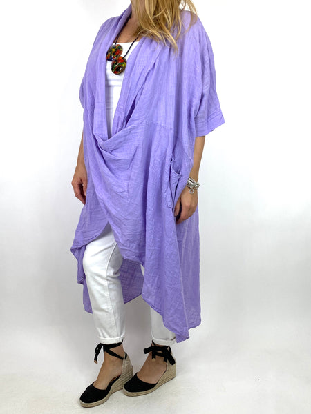 Lagenlook Cotton Wrap Dress Top in Lilac . code 8307