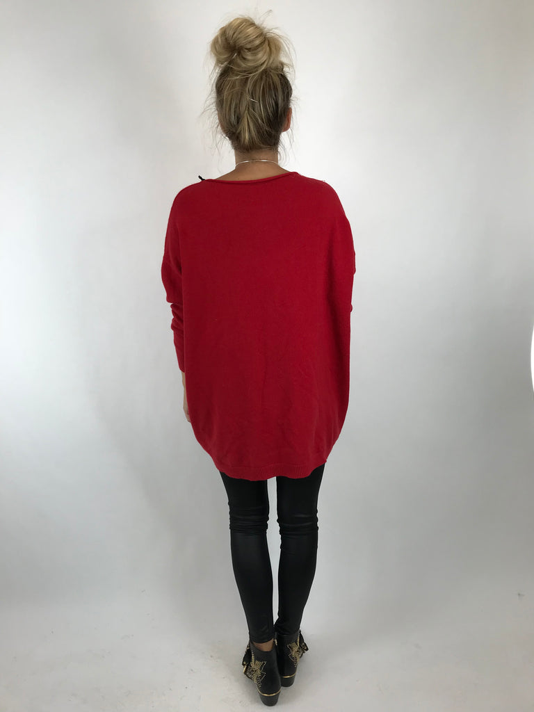 Lagenlook Tess Button side jumper in Red. code 5461