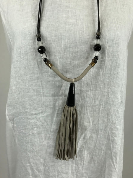 Lagenlook Grey Tassel and Bead Necklace . code Js004