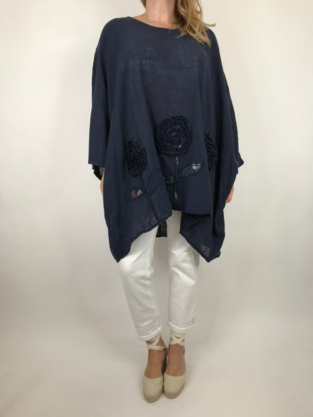 Lagenlook Dalia Flower hem in Navy . Code 90969