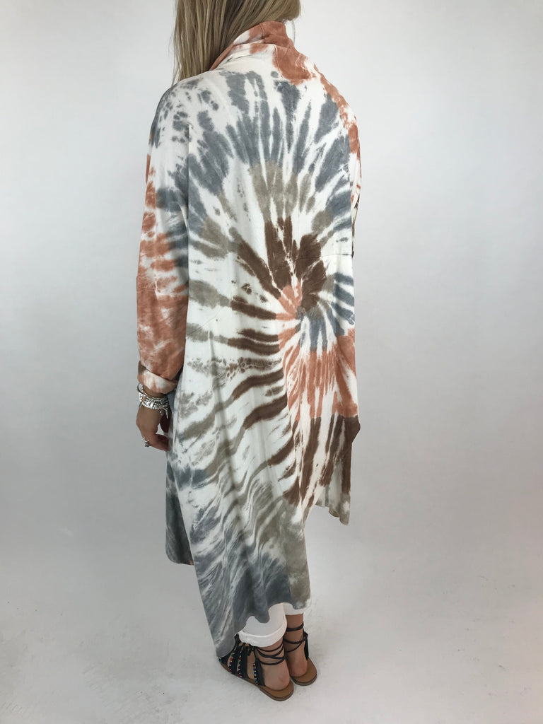Lagenlook Tie-dye Wrap Top in Peach. code 5610
