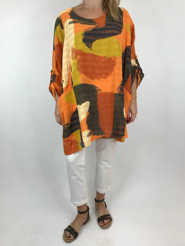 Lagenlook Mia Paint Splash Print Top in Orange. code 90754