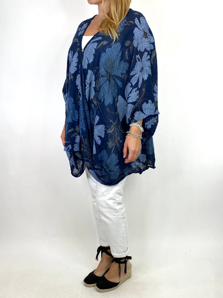 Lagenlook Hana Flower Cotton Mix Wrap Top in Navy. code 9100FP