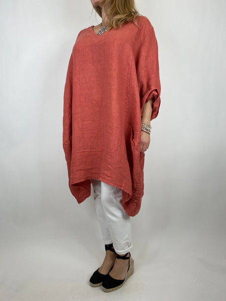 Lagenlook Mykonos V-neck Premium Linen Top in Terracotta . code 88176
