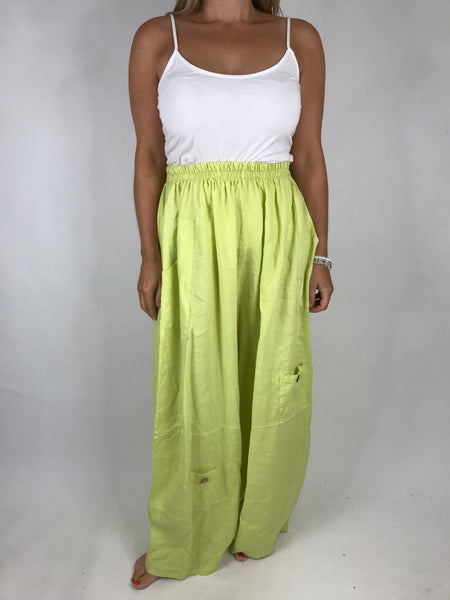 Lagenlook Wide leg Linen Trousers in Summer Lime. code 6151