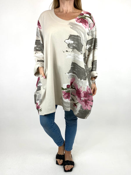 Lagenlook Hetty Flower Top in Mocha. code 90646 - Lagenlook Clothing UK
