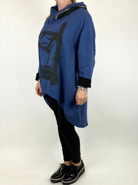 Lagenlook Symbol Zip Hood Top in Denim. code 90645 - Lagenlook Clothing UK