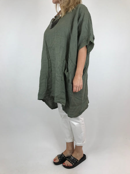 Lagenlook Mesh Pocket Linen top in Khaki. code 5806